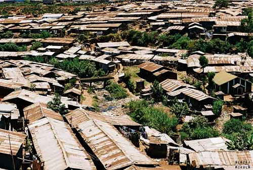 Kibera slum in Nairobi, Kenya, the second largest slum in Africa and third largest in the world
