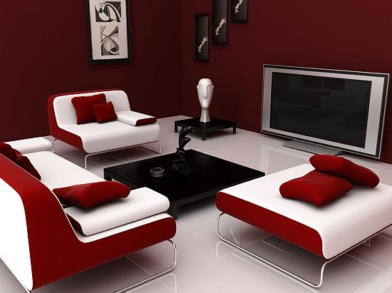 Red and white colour scheme | Colours have an effect on our mind. They give us mental illusions. The combination of white and red colour scheme gives a feeling of belongingness to the place and makes the person feel vibrant and active.