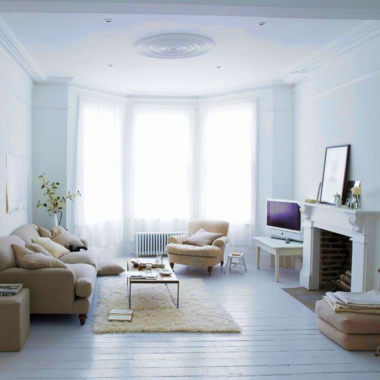 White colour scheme and lighter colour furniture. White with a combination of lighter colours makes a person feel peaceful and content. Apart from using it in Bedrooms and living rooms, white colour scheme has been seen to work effectively in meditation halls. It helps make a person's mind blank and feel peaceful.